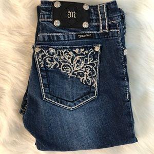 Miss Me Rhinestone pocket design straight leg 28